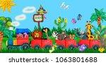 traveling  zoo animals 3d... | Shutterstock . vector #1063801688
