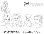girl power concept. linear... | Shutterstock .eps vector #1063807778