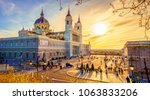 the almudena cathedral is the... | Shutterstock . vector #1063833206