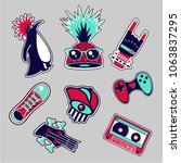 fashion patches set. bright... | Shutterstock .eps vector #1063837295