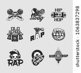 hip hop music signs set. rap... | Shutterstock .eps vector #1063837298
