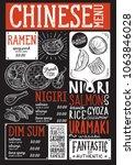 japanese sushi restaurant menu. ...   Shutterstock .eps vector #1063846028