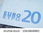 close up of eu banknote | Shutterstock . vector #1063868882