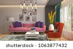 interior living room. 3d... | Shutterstock . vector #1063877432