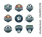 set of football  soccer logos.... | Shutterstock .eps vector #1063892198