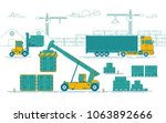 concept of industrial logistic  ... | Shutterstock .eps vector #1063892666