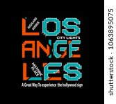 typography los angles t shirt... | Shutterstock .eps vector #1063895075