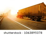 truck run on road ... | Shutterstock . vector #1063895378