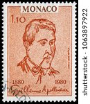 Small photo of Monaco, Monaco - April 28, 1980: Guillaume Apollinaire(1880-1918), French poet, playwright, short story writer, novelist, and art critic of Polish descent. Stamp issued by Monaco Post in 1980.