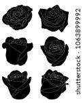 black silhouettes rose flowers... | Shutterstock .eps vector #1063899992