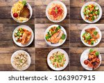 collage of various plates of... | Shutterstock . vector #1063907915