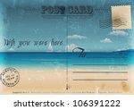 Vintage Summer Postcard. Vector ...
