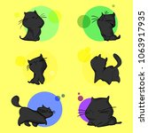 a cute black cat with...   Shutterstock .eps vector #1063917935