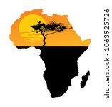 map of africa. safari sunset....   Shutterstock .eps vector #1063925726