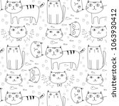 hand drawn cute cats vector... | Shutterstock .eps vector #1063930412