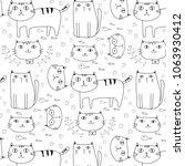 hand drawn cute cats vector... | Shutterstock .eps vector #1063930412