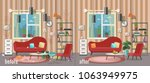 living room before and after... | Shutterstock .eps vector #1063949975