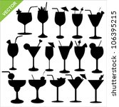 cocktail silhouettes vector | Shutterstock .eps vector #106395215