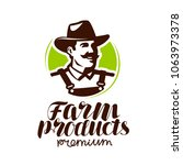 farm products logo or label.... | Shutterstock .eps vector #1063973378