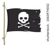 Torn Pirate Flag With White...