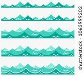 blue waves sea ocean vector... | Shutterstock .eps vector #1063999202