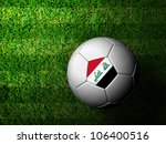 Iraq Flag Pattern 3d rendering of a soccer ball in green grass - stock photo