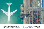 container ships and transport... | Shutterstock . vector #1064007935