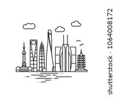 line icon style shanghai... | Shutterstock .eps vector #1064008172