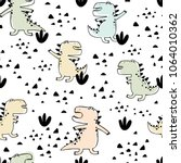 seamless pattern. funny hand... | Shutterstock .eps vector #1064010362
