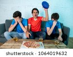 young group of caucasian... | Shutterstock . vector #1064019632