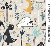 childish seamless pattern with... | Shutterstock .eps vector #1064026775