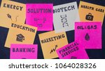 many notes on the blackboard.... | Shutterstock . vector #1064028326