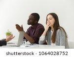 tired bored businesswoman... | Shutterstock . vector #1064028752