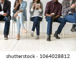 diverse black and white people... | Shutterstock . vector #1064028812