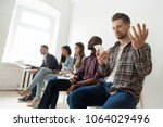 annoyed man frustrated with...   Shutterstock . vector #1064029496
