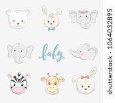 set of cute vector illustration ... | Shutterstock .eps vector #1064032895