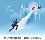 businessman running up stairway ... | Shutterstock .eps vector #1064034002