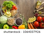 healthy food background  fruits ... | Shutterstock . vector #1064037926
