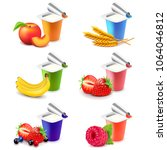 colorful yogurt cups with... | Shutterstock .eps vector #1064046812