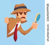 noir detective with magnifying... | Shutterstock .eps vector #1064049908
