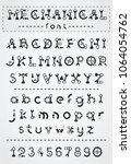 mechanical black font. vintage... | Shutterstock .eps vector #1064054762