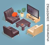 isometric cartoon tv  armchair... | Shutterstock .eps vector #1064059562