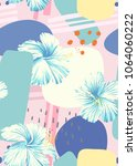 abstract elements and hibiscus... | Shutterstock .eps vector #1064060222