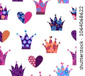 abstract seamless crown pattern....   Shutterstock .eps vector #1064068622