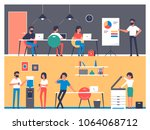 set of workers characters in... | Shutterstock .eps vector #1064068712