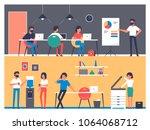 set of workers characters in...   Shutterstock .eps vector #1064068712