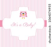 cute invitation card with owlet ... | Shutterstock .eps vector #1064074955