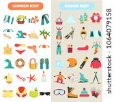 summer and winter rest color... | Shutterstock .eps vector #1064079158