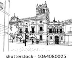 urban sketch with landscape of... | Shutterstock .eps vector #1064080025