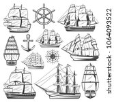 vintage big ships collection... | Shutterstock .eps vector #1064093522